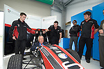 Peter Hain MP, the Secetary of State for Wales and Llanelli MP Nia Griffith with staff and students at the launch of Swansea Metropolitan University's new BSc (Hons) degree in Motorsport Technology at the Pembrey Motor Circuit in Llanelli today. Mr Hain took to the wheel of one the University's fleet of motorsport vehicles and drove a couple of laps at high speed around the circuit..