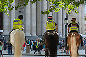 Mounted City of London police on a training exercise at St.Paul's Cathedral.