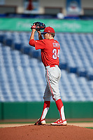 Philadelphia Phillies pitcher Kevin Gowdy (34) gets ready to deliver a pitch during a Florida Instructional League game against the New York Yankees on October 12, 2018 at Spectrum Field in Clearwater, Florida.  (Mike Janes/Four Seam Images)