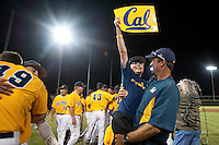 SANTA CLARA, CA--Patrick Hubbs celebrates in the arms of his father Cal Assistant Coach Dan Hubbs after a 6-2 win over Dallas Baptist University at Stephen Schott Stadium on the Santa Clara University campus in Santa Clara, CA. The win gives the Cal Bears a berth to the College World Series in Omaha, Nebraska. SUNDAY, JUNE 12, 2011.