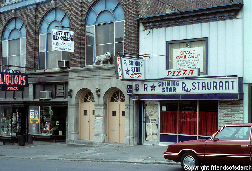 Albany: South side of Madison near Fulton--the neighborhood can't hold--June 1988.