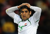 Alaa Abdul Zahra of Iraq looks dejected. Iraq and New Zealand tied 0-0 during the FIFA Confederations Cup at Ellis Park Stadium in Johannesburg, South Africa on June 20, 2009..