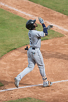 Peoria Javelinas shortstop Lucius Fox (5), of the Tampa Bay Rays organization, celebrates after hitting a home run during an Arizona Fall League game against the Mesa Solar Sox on October 11, 2018 at Sloan Park in Mesa, Arizona. The Solar Sox defeated the Javelinas 10-9. (Zachary Lucy/Four Seam Images)