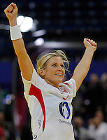 BELGRADE, SERBIA - DECEMBER 16: Ida Alstad (C) of Norway celebrates the goal during the Women's European Handball Championship 2012 gold medal match between Norway and Montenegro at Arena Hall on December 16, 2012 in Belgrade, Serbia. (Photo by Srdjan Stevanovic/Getty Images)