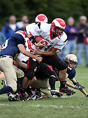 Holley Hawks varsity football against the Notre Dame Fighting Irish of Batavia in week five of the Genesee Region League season at Notre Dame High School on October 3, 2009 in Batavia, New York.  Holley defeated Notre Dame 14-7.  (Copyright Mike Janes Photography)