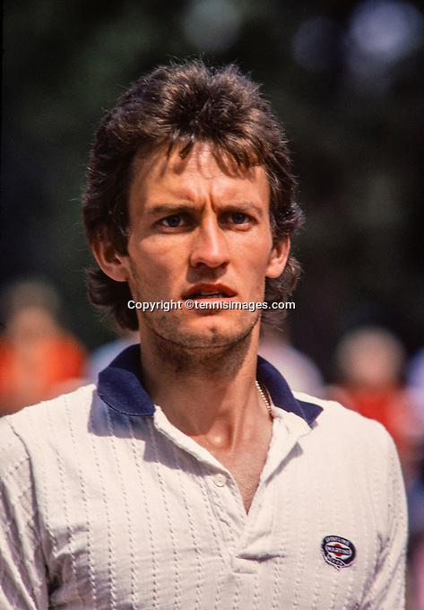 June 14, 1981, Netherlands, Davis Cup,  Netherlands-Ireland, Sean Sörensen (IRE)<br /> Photo: Tennisimages/Henk Koster