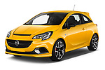 2019 Opel Corsa GSI 3 Door Hatchback Angular Front stock photos of front three quarter view