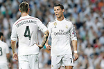 Real Madrid's Sergio Ramos (l) and Cristiano Ronaldo during Champions League 2014/2015 Semi-finals 2nd leg match.May 13,2015. (ALTERPHOTOS/Acero)