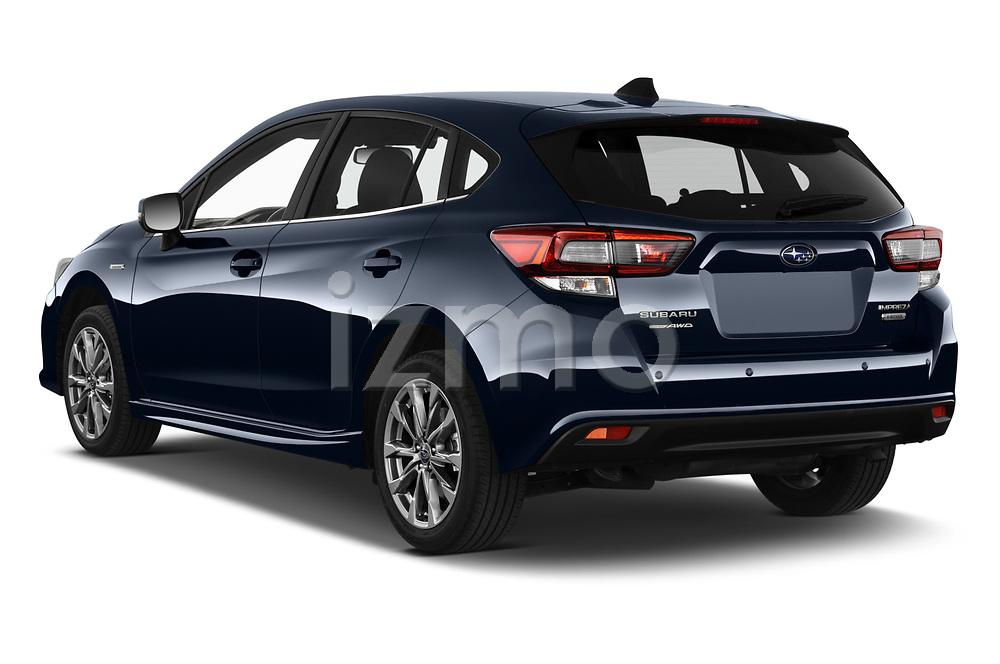 Car pictures of rear three quarter view of 2021 Subaru Impreza Premium 5 Door Hatchback Angular Rear