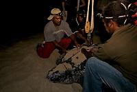 Researchers way a Leatherback Sea Turtle during the nesting process. Dermochelys coriacea. Matura Beach, Trinidad.