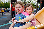 Enjoying the slide in the Listowel town park on Saturday, l to r: Aoife and Megan O'Connell.