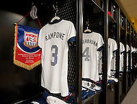 Christie Rampone, jersey, locker room. The USWNT tied New Zealand, 1-1, at an international friendly at Crew Stadium in Columbus, OH.