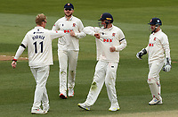 Simon Harmer of Essex celebrates taking the wicket of Ben Cox during Essex CCC vs Worcestershire CCC, LV Insurance County Championship Group 1 Cricket at The Cloudfm County Ground on 10th April 2021