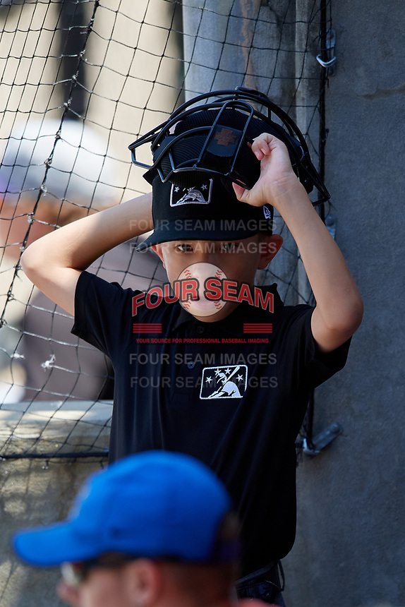 Vincent Stio, an 11-year old fan of the umpires, during a Carolina League game between the Winston-Salem Dash and Carolina Mudcats on August 14, 2019 at Five County Stadium in Zebulon, North Carolina.  Winston-Salem defeated Carolina 4-2.  (Mike Janes/Four Seam Images)