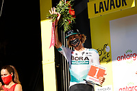 4th September 2020; Millau to Lavaur, France. Tour de France cycling tour, stage 7; Bora - Hansgrohe Oss, Daniel on the podium in Lavaur