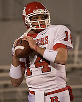 02 December 2006: Rutgers quarterback Mike Teel (14)..The West Virginia Mountaineers defeated the Rutgers Scarlet Knights 41-39 in triple overtime on December 02, 2006 at Mountaineer Field, Morgantown, West Virginia. .