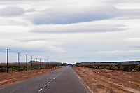 Long straight road through the landscape Neuquen, Patagonia, Argentina, South America