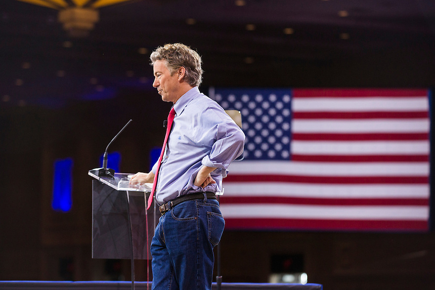 Kentucky Senator Rand Paul speaks at the 2015 Conservative Political Action Conference (CPAC) outside Washington, DC