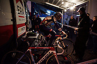 warming up at dusk<br /> <br /> Superprestige Diegem 2015