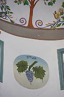 Asie/Israël/Galilée/Safed: intérieur de la synagogue Abouhav - Décoration sur le thème de la viticulture - Grappe de raisin peinte sur un mur