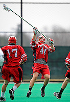 1 April 2008: Fairfield University Stags' Defenseman Chris Atwell, a Senior from Kennebunkport, ME, in action against the University of Vermont Catamounts at Moulton Winder Field, in Burlington, Vermont. The Catamounts rallied to overcome a five goal deficit and defeat the visiting Stags 9-8 notching their third win of the season...Mandatory Photo Credit: Ed Wolfstein Photo