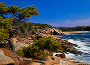 Looking towards Sand Beach at Acadia National Park on Mount Desert Island in Maine. Acadia National Park was the first established national park east of the Mississippi River.