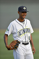Right fielder Jose Medina (8) of the Columbia Fireflies before a game against the Lexington Legends on Saturday, April 22, 2017, at Spirit Communications Park in Columbia, South Carolina. Lexington won, 4-0. (Tom Priddy/Four Seam Images)