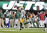 Green Bay Packers cornerback Charles Woodson jogs after his interception of New York Jets quarterback Mark Sanchez during the fourth quarter of the game at The New Meadowlands Stadium in East Rutherford, NJ on Oct. 31, 2010.