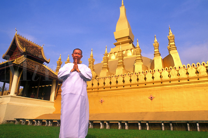 That Luang Gold Temple,  Buddhist Nun,  Vientiane, Laos
