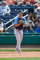 Trenton Thunder first baseman Brandon Wagner (13) during a game against the Hartford Yard Goats on August 26, 2018 at Dunkin' Donuts Park in Hartford, Connecticut.  Trenton defeated Hartford 8-3.  (Mike Janes/Four Seam Images)