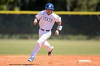 South Dakota State JackRabbits catcher Reid Clary (14) running the bases during a game against the Maine Black Bears at South County Regional Park on March 9, 2014 in Port Charlotte, Florida.  Maine defeated South Dakota 5-4.  (Mike Janes/Four Seam Images)