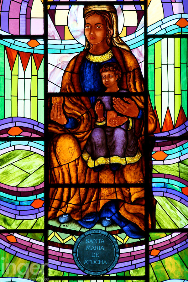 Stained Glass Windows inside Almudena Cathedral in Madrid, Spain