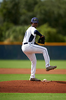 GCL Rays pitcher Franklin Dacosta (30) during a Gulf Coast League game against the GCL Pirates on August 7, 2019 at Charlotte Sports Park in Port Charlotte, Florida.  GCL Rays defeated the GCL Pirates 4-1 in the first game of a doubleheader.  (Mike Janes/Four Seam Images)