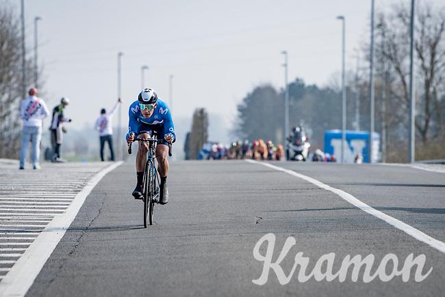 solo race leader Sebastián Mora (ESP/Movistar)<br /> <br /> 45th Oxyclean Classic Brugge-De Panne 2021 (ME/1.UWT)<br /> 1 day race from Bruges to De Panne (204km)<br /> <br /> ©kramon