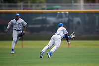 Central Connecticut State Blue Devils second baseman Dean Lockery (2) makes a diving catch in shallow right field during a game against the North Dakota State Bison on February 23, 2018 at North Charlotte Regional Park in Port Charlotte, Florida.  North Dakota State defeated Connecticut State 2-0.  (Mike Janes/Four Seam Images)