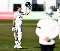 Joe Root celebrates his hundred for Yorkshire during Kent CCC vs Yorkshire CCC, LV Insurance County Championship Group 3 Cricket at The Spitfire Ground on 17th April 2021