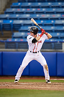 Salem Red Sox second baseman Brett Netzer (13) at bat during the first game of a doubleheader against the Potomac Nationals on June 11, 2018 at Haley Toyota Field in Salem, Virginia.  Potomac defeated Salem 9-4.  (Mike Janes/Four Seam Images)
