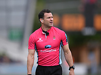 29th May 2021; Sixways Stadium, Worcester, Worcestershire, England; Premiership Rugby, Worcester Warriors versus Leicester Tigers; Referee Karl Dickson reviews a replay on the big screen