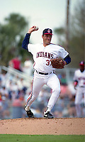 Cleveland Indians pitcher Mike Bielecki during Spring Training 1992 at Chain of Lakes Park in Winter Haven, Florida.  (MJA/Four Seam Images)