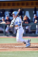 North Carolina Tar Heels third baseman Kyle Datres (3) swings at a pitch during a game against the Pittsburgh Panthers at Boshamer Stadium on March 17, 2018 in Chapel Hill, North Carolina. The Tar Heels defeated the Panthers 4-0. (Tony Farlow/Four Seam Images)
