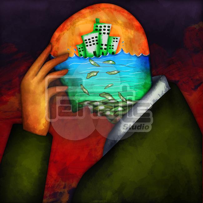 Illustrative image of a person in depression representing economic failure