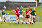 John Buckley, Kerry in action against Ronan Costello, Down during the National hurling league between Kerry v Down at Austin Stack Park, Tralee on Sunday.