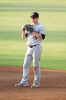 Delmarva Shorebirds first baseman Creede Simpson (18) on defense against the Kannapolis Intimidators at CMC-NorthEast Stadium on July 1, 2014 in Kannapolis, North Carolina.  The Intimidators defeated the Shorebirds 5-2. (Brian Westerholt/Four Seam Images)