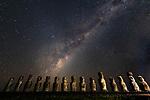 Chile, Easter Island, Rapa Nui, Ahu Tongariki, moai under Milky Way