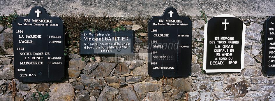 Europe/France/Bretagne/22/Côtes d'Armor/Ploubazlanec: Mur des disparus en mer lors des campagnes de pêche en Islande