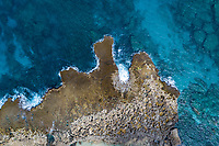 An aerial view of Shark's Cove on the North Shore of O'ahu.