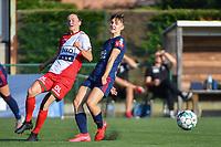 Elke Van Gorp (14) of Zulte Waregem and Zenia Mertens (6) of OH Leuven  pictured during a female soccer game between SV Zulte - Waregem and Oud Heverlee Leuven on the sixth matchday of the 2021 - 2022 season of Belgian Scooore Womens Super League , saturday 9 of October 2021  in Zulte , Belgium . PHOTO SPORTPIX | DIRK VUYLSTEKE