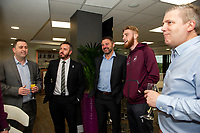 Pictured: Oli McBurnie of Swansea City during the Swans Community Trust awards dinner at the liberty stadium in Swansea, Wales, UK <br /> Thursday 02 April 2019