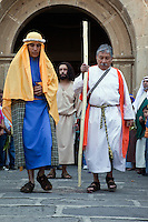 Jesus Sends Two Disciples on a Mission.  Palm Sunday Re-enactment of events in the life of Jesus, by the group called Luna LLena (Full Moon), a group of volunteers in Antigua, Guatemala.