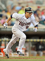 29 September 2012: Minnesota Twins infielder Jamey Carroll in action against the Detroit Tigers at Target Field in Minneapolis, MN. The Tigers defeated the Twins 6-4 in the second game of their 3-game series. Mandatory Credit: Ed Wolfstein Photo